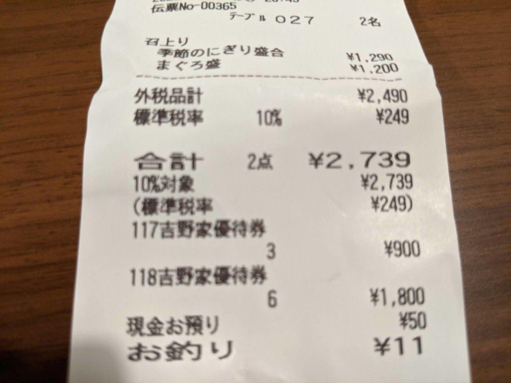 寿司レシート